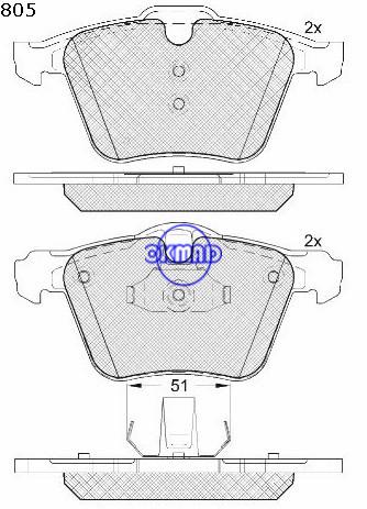 Ford Galaxy/S-max Ford Mondeo Buick Volvo S60 II/S80 II/V60/V70 pastiglia freno FMSI: D1305-8357 OEM: 1 405 511 WVA24142, F1305