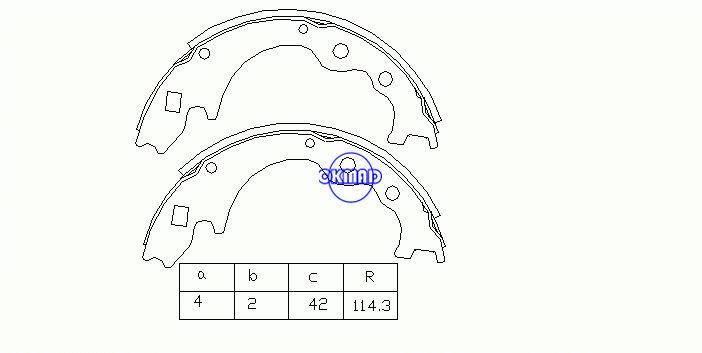 MAZDA BONGO EUNOS CARGO SPECTRON J80 NISSAN VANETTE Pattini freno a tamburo OEM: SB40-26-330 MK3348 FSB245 GS6243, OK-BS070