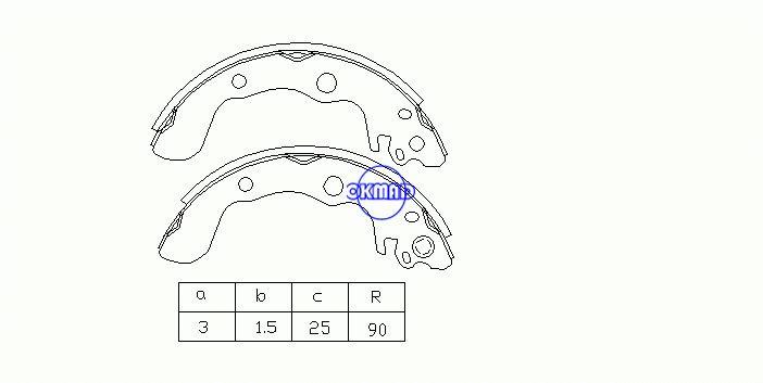 CHEVROLET Spectrum GEO Spectrum ISUZU I-Mark MERCEDES TRUCK Pattini freno a tamburo FMSI: 1391-S606 OEM: 8-94470-807-0 MK4448 GS7172, OK-BS092