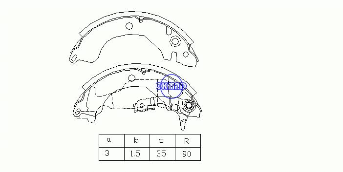 MITSUBISHI COLT II III LANCER IV Hatchback GALANT ETERNA Drum Brake shoes FMSI:1389-S558 OEM:MB366443 MK6674 FSB246 GS8225, OK-BS112